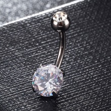 Black White Round Cubic Zircon Body Jewelry Circle Belly Button Ring