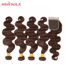Miss Rola Hair Pre-colored Ombre Mongolian Body Wave Non Remy #4 100% Human Hair Weave 4 Bundles with Closure Hair Extensions