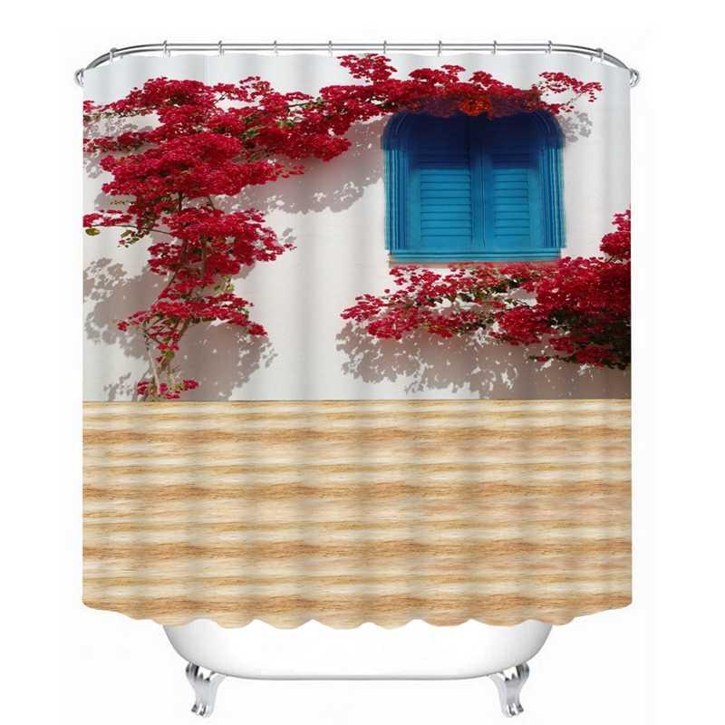 3D عرض دش الستار الزهور المشهد جدار نمط الحمام ستارة للماء قابل للغسل ستارة حمام للتخصيص