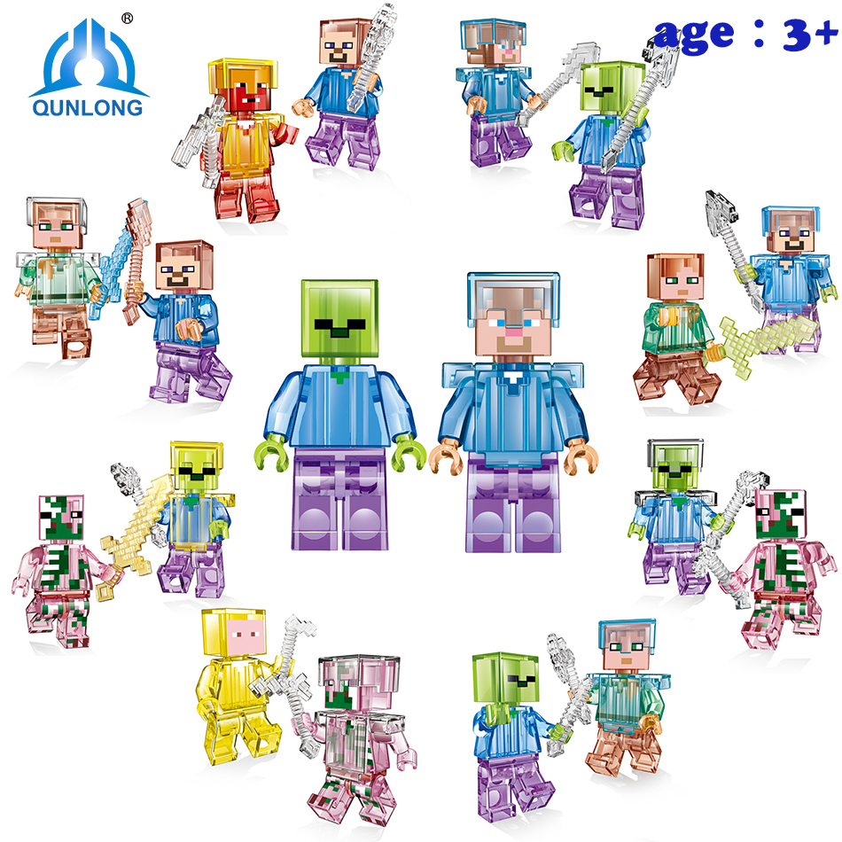 Qunlong Toys Smartable Minecrafted Style Mini Figures Zombie Figure Building Blocks Toys Compatible Legoe Minecrafted Bricks qunlong toys 4 style racing car building blocks educational action figures compatible legoe city enlighten bricks toys for kid