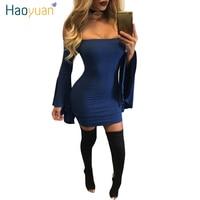 HAOYUAN Mulheres Outono Sexy Vestido Fora Do Ombro 2017 Outono Vestidos de Festa Night Club Backless Azul Marinho Mini Vestido Preto Bodycon