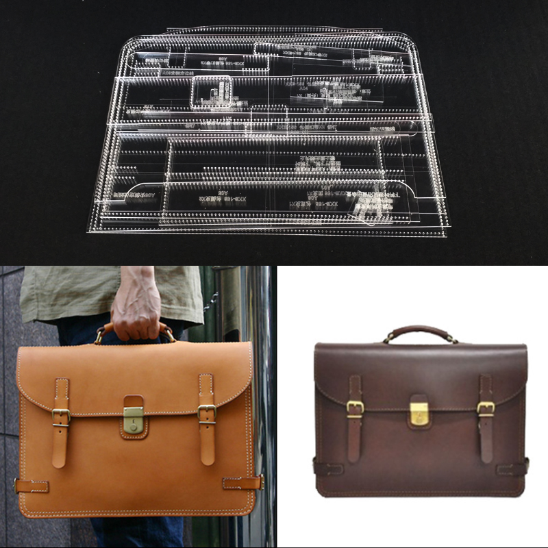 Leather Pattern Stencil Template Men's Business Bag Briefcase Tote Hand bag  Acrylic Leather Sewing Pattern 38x27x8cm