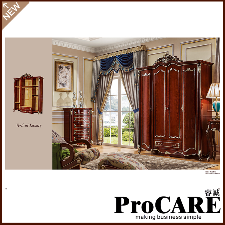 Foshan Manufacture Hand Carved Design Wood Wardrobe with 5 door louvered doors