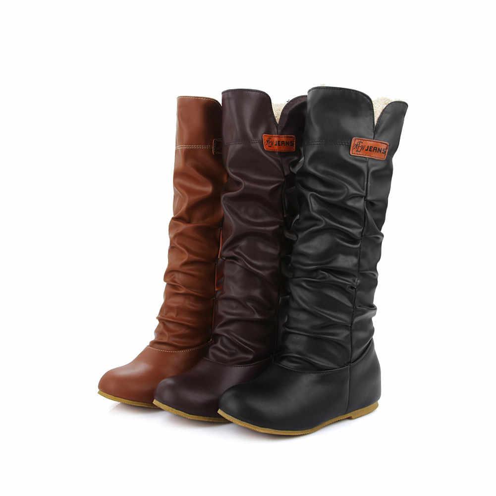 BONJOMARISA Yeni Katı Yüksekliği Artan Yuvarlak Ayak Ayakkabı Kadın Rahat Yumuşak kadın Sonbahar Kış Orta Buzağı Çizmeler Büyük Boy 34-46