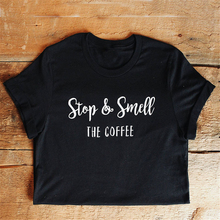 Enjoythespirit Women Tshirt Fashion Black Girl T-shirt Stop & Smell The Coffee Shirt Classic Solid Color White Letter Printing