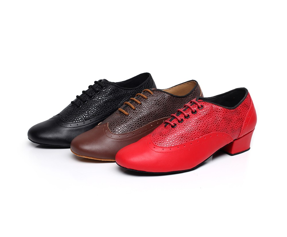 Men Ballroom Latin Dance Shoes Genuine Leather Black Red Modern Latin Dance Shoes Suede Sole Low-heel 4cm T20 цены онлайн
