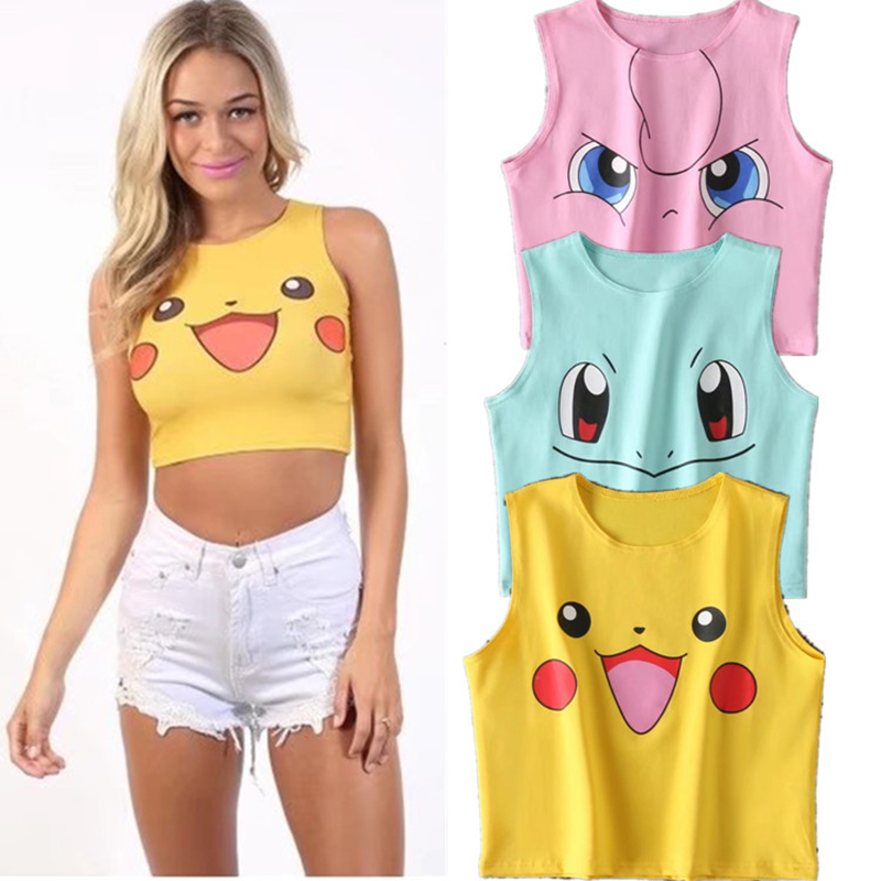Europe And The United States Trend Cartoon Fashion Sexy Cute Round Neck Cartoon Pikachu Umbilical Adult Cotton Sleeveless Vest