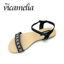 Vicamelia 2019 Summer Beach Sandals Buckle Women Casual Flat Shoes Ladies Flower Embroidery Peep Toe Fashion Female Slides 558