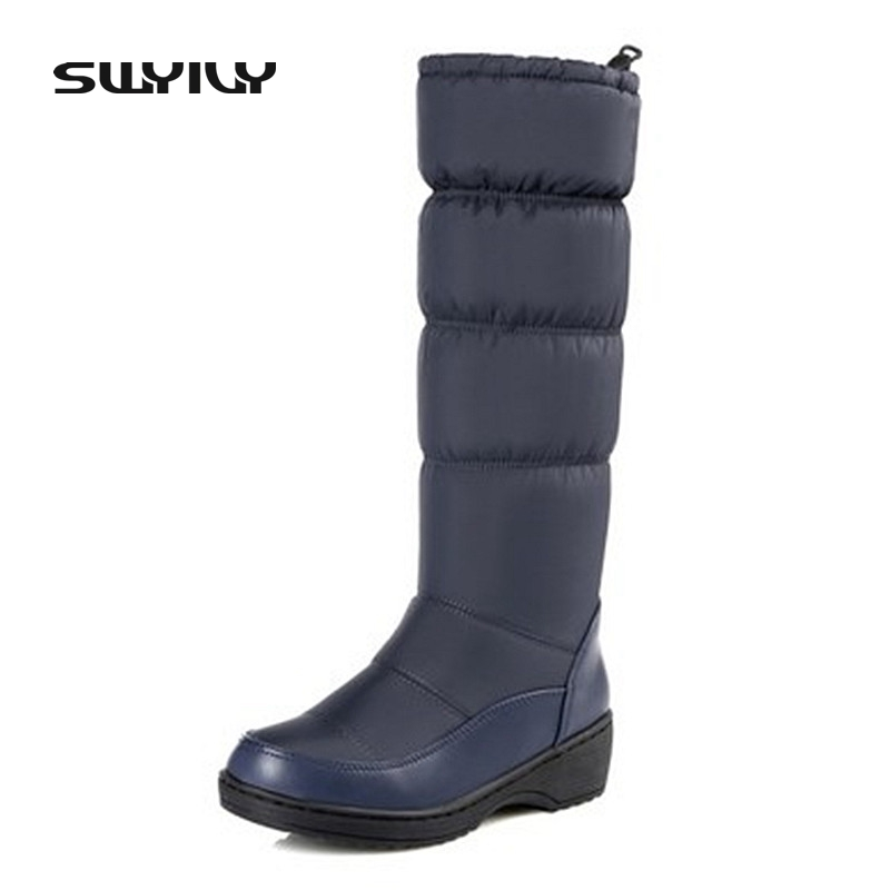 Plus Size 35-44 New Winter Women Warm Waterproof Snow Boots Fashion Platform Fur Cotton Shoes Wedges Knee High Easy Wear Boots new 2017 hats for women mix color cotton unisex men winter women fashion hip hop knitted warm hat female beanies cap6a03