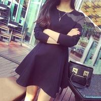 Yeni bahar saf siyah mini dress uzun kollu büyük kod tabanı yuvarlak yakalı gösterisi ince moda kadın elbiseler
