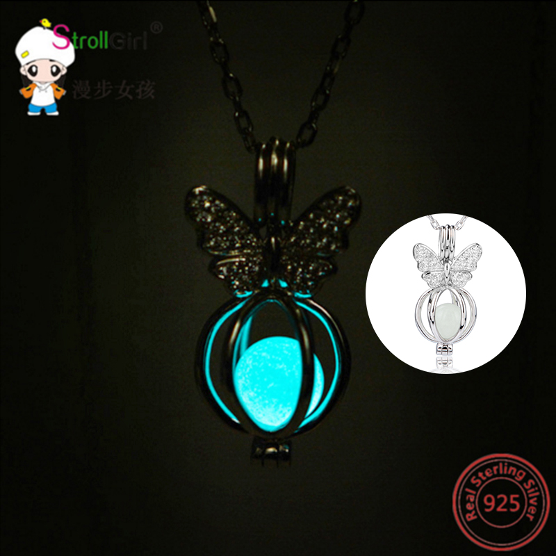 2018new arrival 925 sterling silver fluorescence butterfly shape 2018new arrival 925 sterling silver fluorescence butterfly shape locket cage pendant mountings can open jewelry gift for friends in pendant necklaces from mozeypictures Image collections