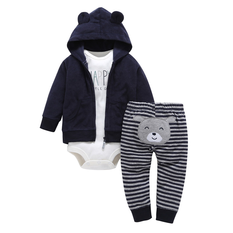 2018 Real New Arrival Fashion Polyethersulfone Cotton Unisex Baby Girl Clothing Spring Autumn 3 Unids / Set Zipper Newborn Suit