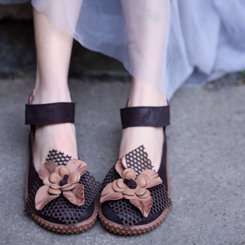 Artmu Original Spring New Flowers Women Shoes Handmade Leather Shoes Women Sandas Ankle Strap Fashion zapatos de mujer-in Women's Flats from Shoes    1