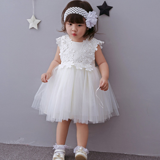 2018 Formal Elegant 1 Year Old Birthday Dress Sweet Baby White Party Vestido Toddler