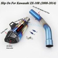 Слипоны для ZX 10R мотоцикл полный Системы выхлопных газов Изменение среднего звена трубы Moto лазерной маркировки Глушитель Трубы для Kawasaki ZX10R