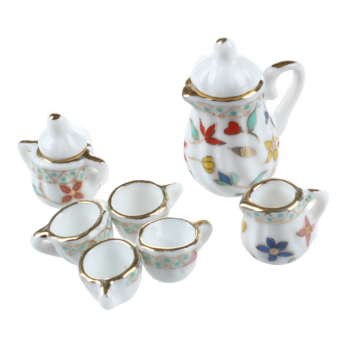 Tea Set Toy Us 3 32 30 Off 15 Piece Nourriture Miniature Kitchen Dollhouse Dinnerware Porcelain Kids Tea Set Toy Cup Plate Colorful Floral Print In Kitchen Toys