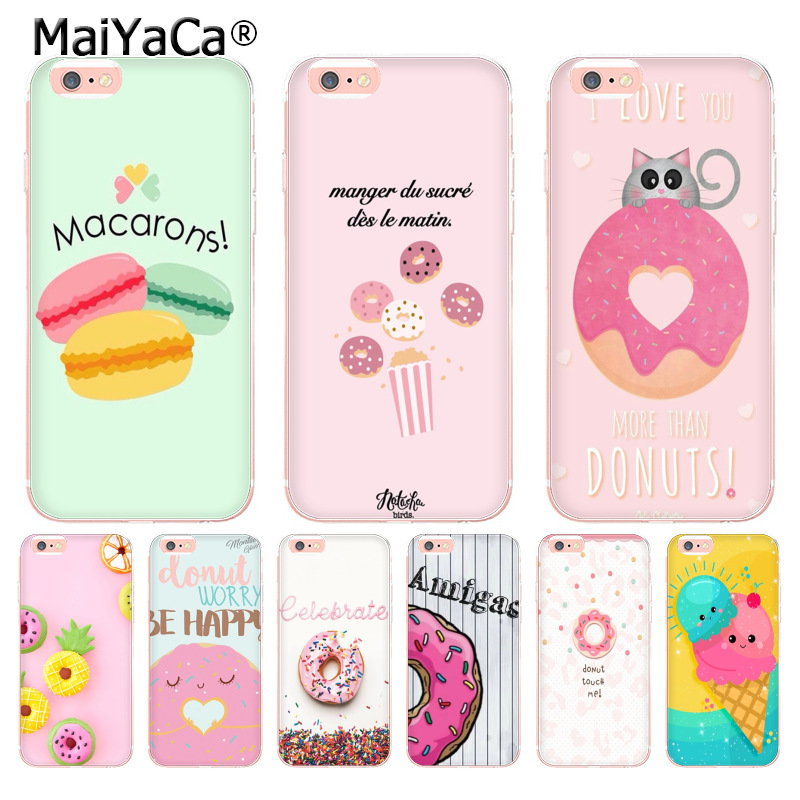 MaiYaCa Donuts Macarons Icecream Transparent Phone Case for Apple iPhone 8 7 6 6S Plus X 5 5S SE 5C 4 4S Cover