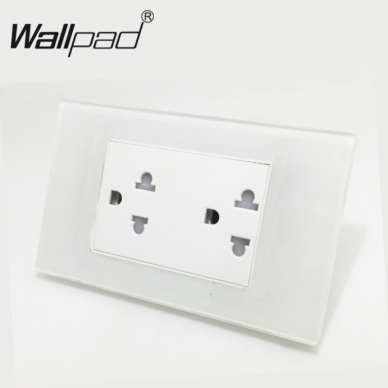 High Quality Wallpad 120mm*72mm 110V-250V 15A US Australia New Zealand Standard White Glass Double Wall Socket Powerpoint SocketHigh Quality Wallpad 120mm*72mm 110V-250V 15A US Australia New Zealand Standard White Glass Double Wall Socket Powerpoint Socket