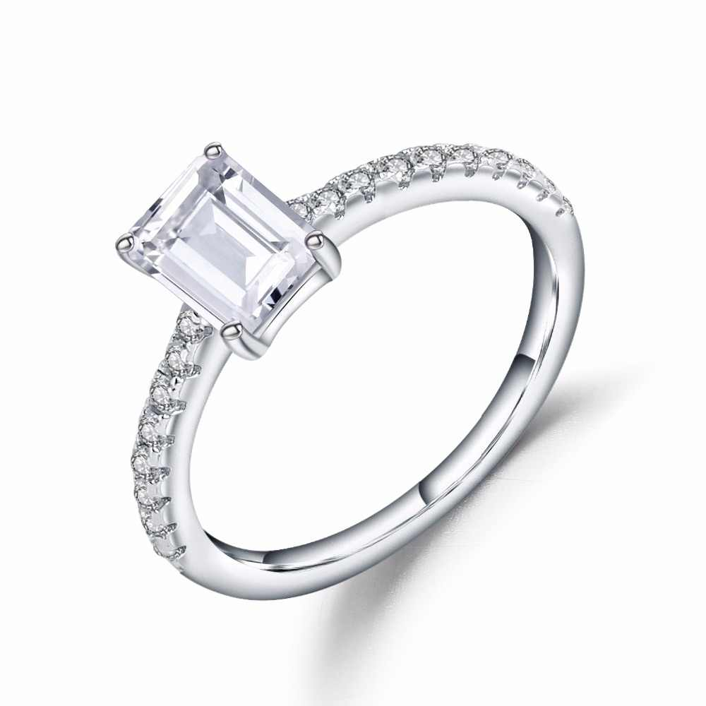 ffe1c12dd9df8 Gem's Ballet 925 Sterling Silver White CZ Ring 1.28Ct Emerald Cut Cubic  Zirconia Wedding Engagement Rings For Women Fine Jewelry