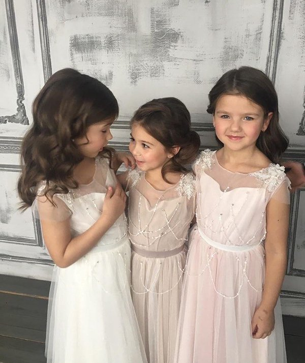 Pink 2019   Flower     Girl     Dresses   For Weddings A-line Cap Sleeves Tulle Beaded Long First Communion   Dresses   For Little   Girls