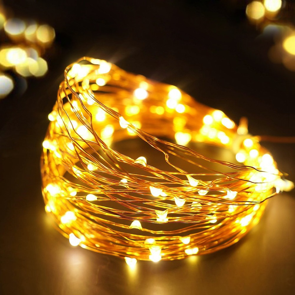 20-100 LED AA Battery Operated LED Copper Wire String Fairy Lights Xmas 2M-10M