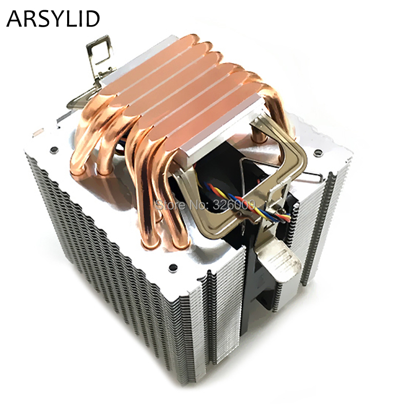 ARSYLID CN-609A-P 9cm 4pin fan 6 heatpipe <font><b>CPU</b></font> <font><b>cooler</b></font> cooling for Intel LGA775 1151 <font><b>115x</b></font> 1366 2011 for AMD AM3 AM4 radiator image