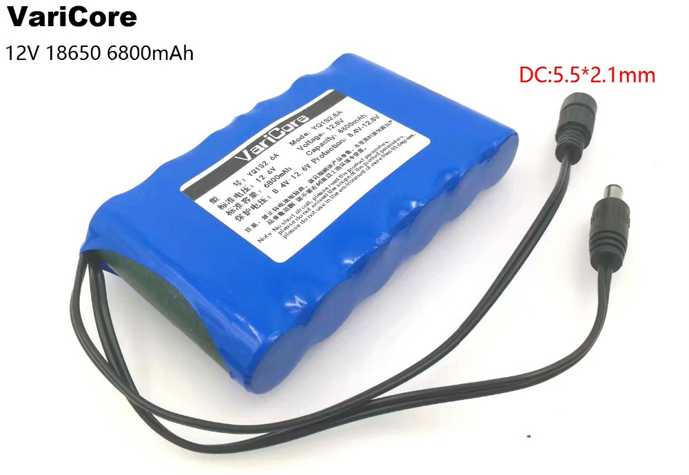 VariCore Portable Super 18650 Rechargeable Lithium Ion battery pack capacity DC 12 V 6800 Mah CCTV Cam Monitor ues