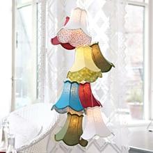 Modern Clusters Colourful Fabric Shade G4 Pendant Lamp Lights Led Cord/8  Heads DIY Lights Bedroom/Girls/children/living Room