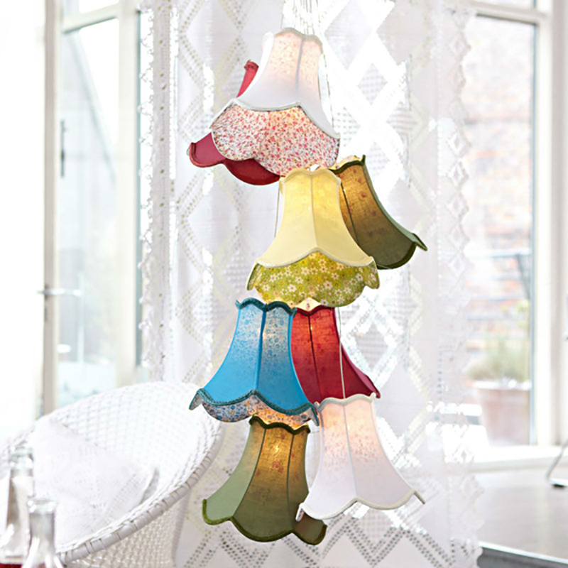 Modern Clusters colourful fabric shade G4 pendant lamp lights led cord/8 Heads DIY lights bedroom/Girls/children/living room modern fashion large spider braided chandeliers white black fabric shades diy 10 heads clusters of hanging ceiling lamp lighting