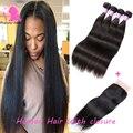 3 Bundles Brazilian Virgin Hair With Closure 8A Grade Brazilian Straight Hair With Lace Closure Straight Human Hair With Closure