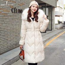 PinkyIsBlack 2019 Faux Fur Long Parkas Winter Women Down Jacket Plus Size 3XL Thicken Outerwear Hooded Winter Coat Female Jacket цены онлайн