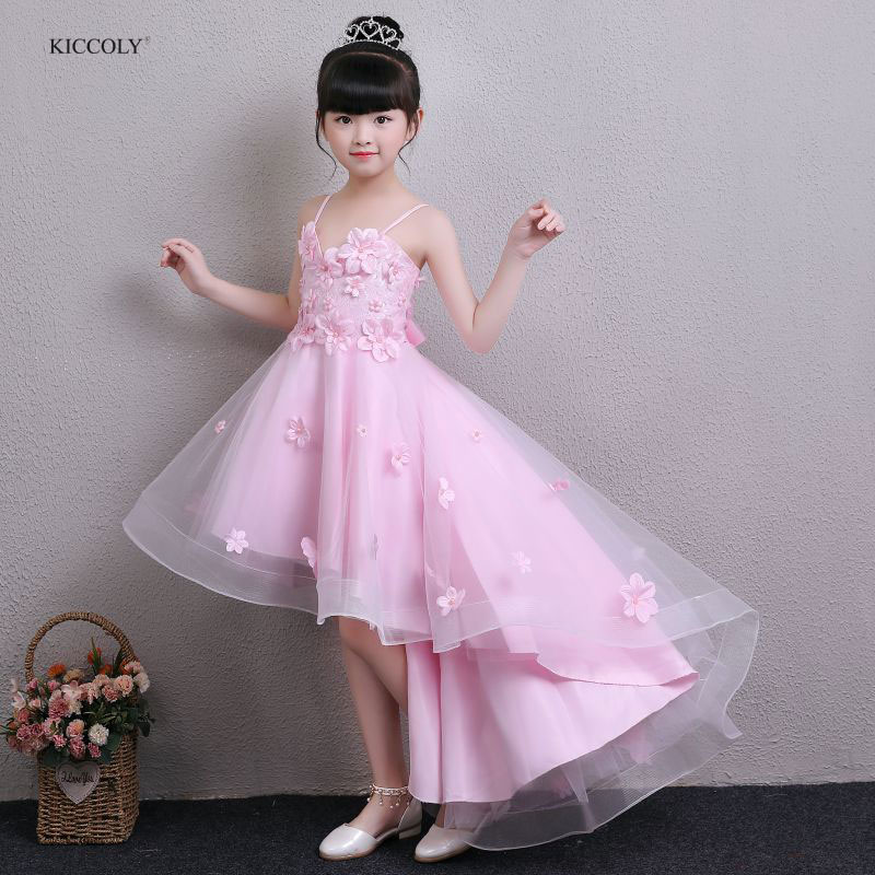 KICCOLY 2018 Summer Teenage Vestido Floral Children Baby Dresses Girl Wedding Party Princess 1-14T Birthday Girls Sling Dress beach summer 2018 casual flower princess teenage kids dress floral chiffon children toddler girls dress girl baby vestido party