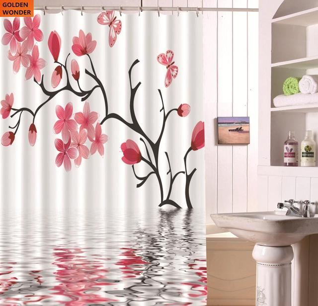 New Product Shower Curtain Waterproof Bath Curtains Bathroom Thick Red Flower White Fabric Home Decor
