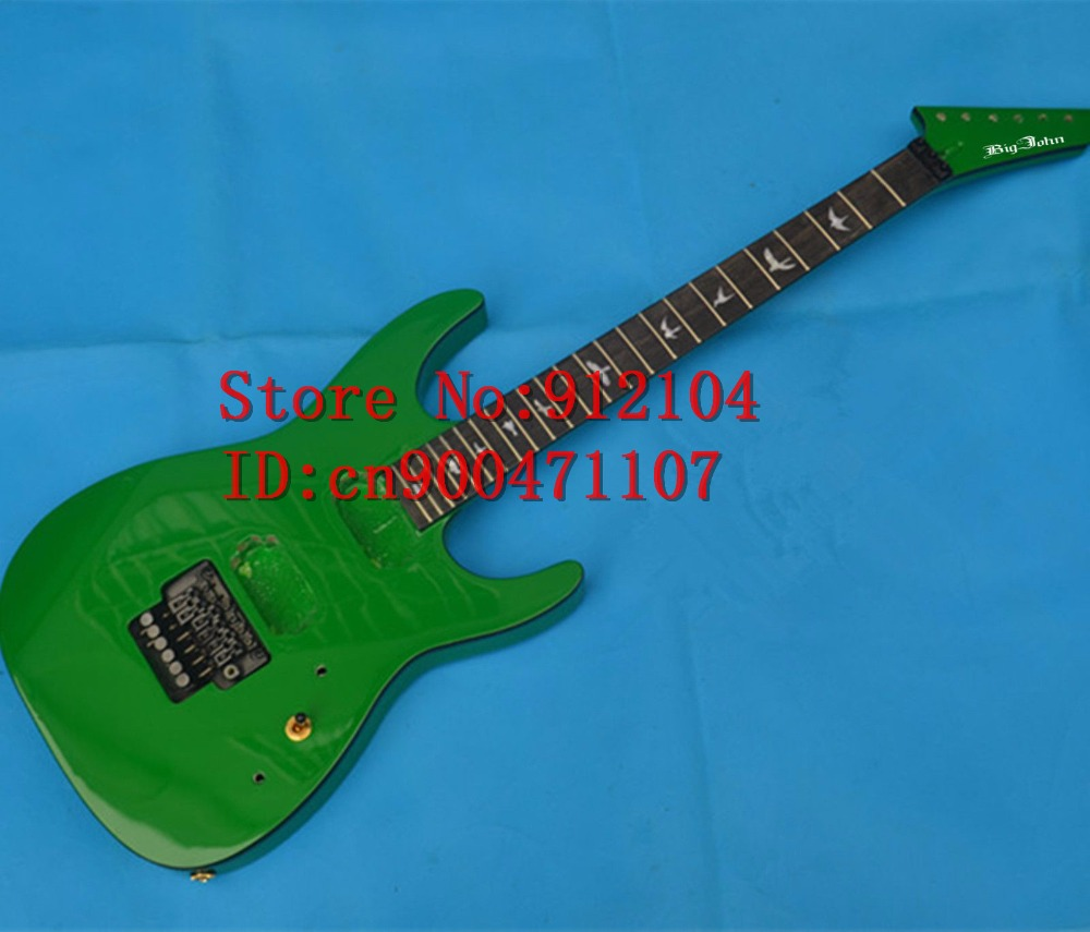 new Big John 6-strings double wave ebony fingerboard electric guitar in green without pickup and button  F-3088 big john модель 65d