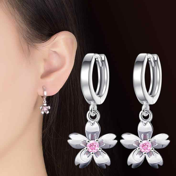 Cute 925 Sterling Silver Cherry blossoms Flower White Pink CZ Stud Earrings For Women Girls Kids Jewelry  5Y131