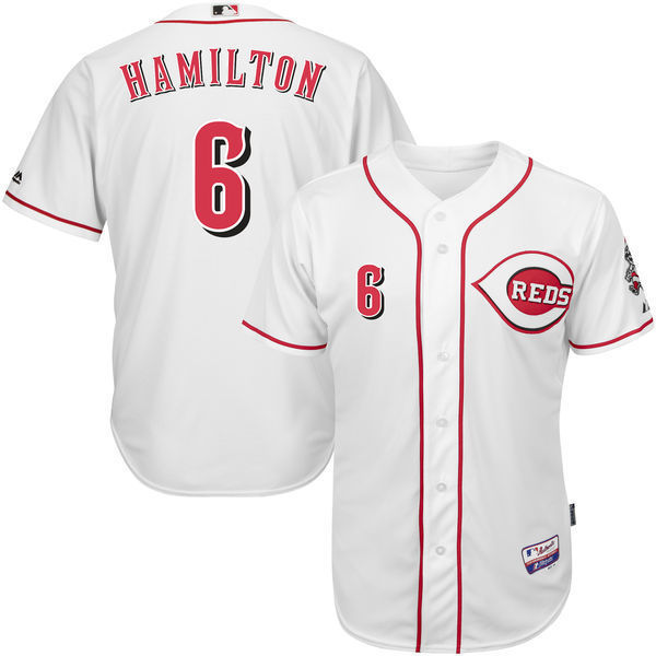 MLB Mens Cincinnati Reds Billy Hamilton Baseball White Home 6300 Player Authentic Jersey