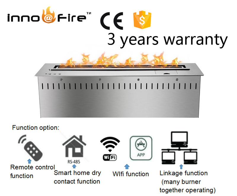 24 Inch Intelligent Remote Control Smart Auto Modern Silver Or Black  Ethanol Fire Burner