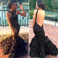 Sexy Mermaid Prom Dress 2017 Black Girl Flowers Backless Ombre Prom Dress 2017 Cheap Prom Dress