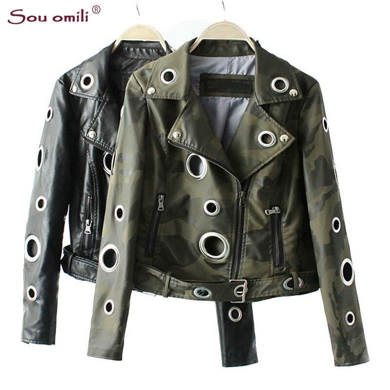 Camouflage Army Green Leather Jacket Women Metal circle Moto Coat Punk Rock Faux Jacket jaquetas couro
