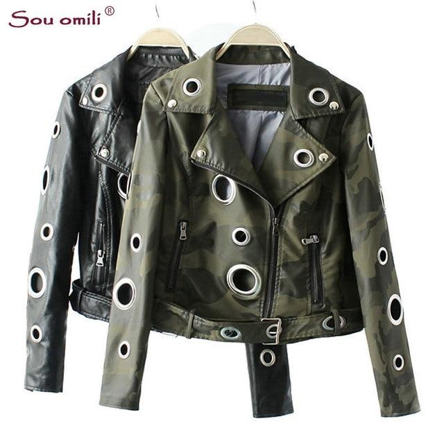 Camouflage Armée Vert Veste En Cuir Femmes En Métal cercle Moto Manteau Punk  Rock Faux Veste b2d88ac8885