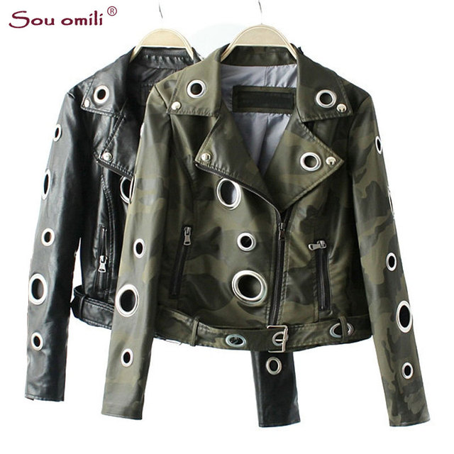 Camouflage Army Green Leather Jacket Women Metal Circle Moto Coat