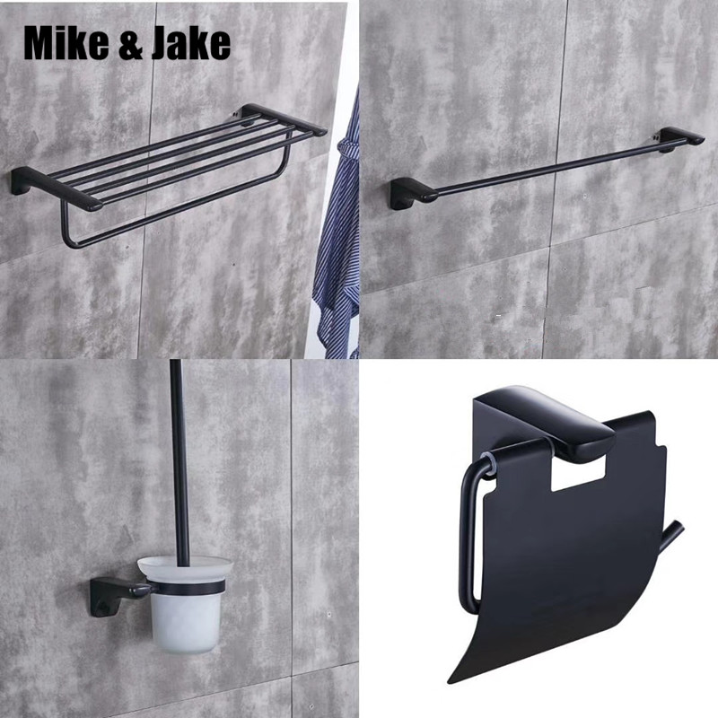 Bathroom shelf 4pecs kit black towel shelf brush holder paper holder single towel bar shelf bathroom kitBathroom shelf 4pecs kit black towel shelf brush holder paper holder single towel bar shelf bathroom kit