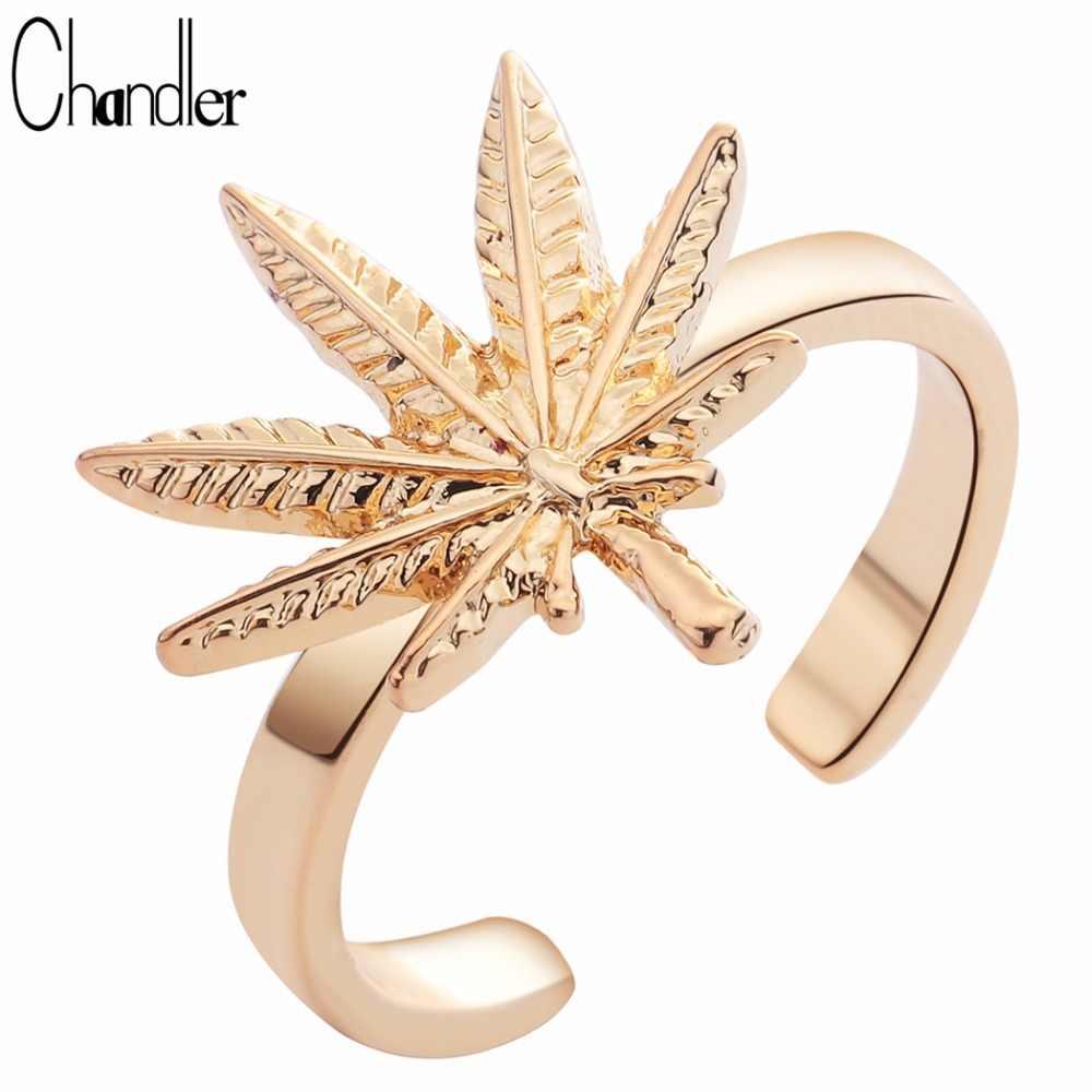 Chandler 2017 Nuevo Original Natural inspirado delicado Marihuana hoja de arce abierto banda anillo de tamaño ajustable deja amor encanto Bague