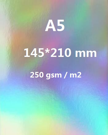 2/10/30/50 Sheets A5 Single Side Holographic Rainbow Mirror Glossy 250gsm Thick Cardboard Cardstock Paper Color Card Single Side