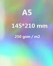 2/10/30/50 Sheets A5 Single Side Holographic Rainbow Mirror Glossy 250gsm Thick Cardboard Cardstock Paper Color Card Single Side(China)