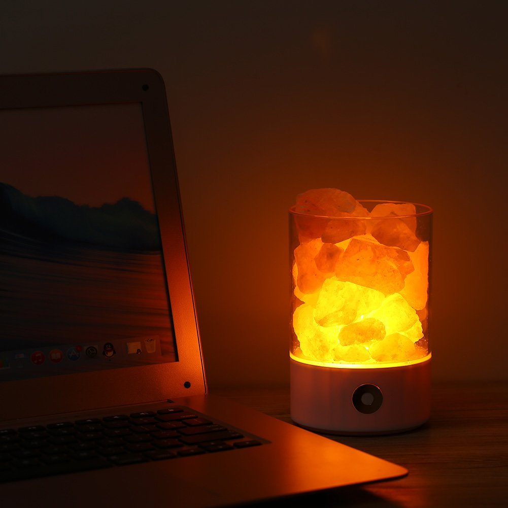 USB de luz de cristal natural de sal del himalaya lámpara purificador de aire de humor creador pequeño Mineral iónica negativa piedra Lava sal luz de la noche
