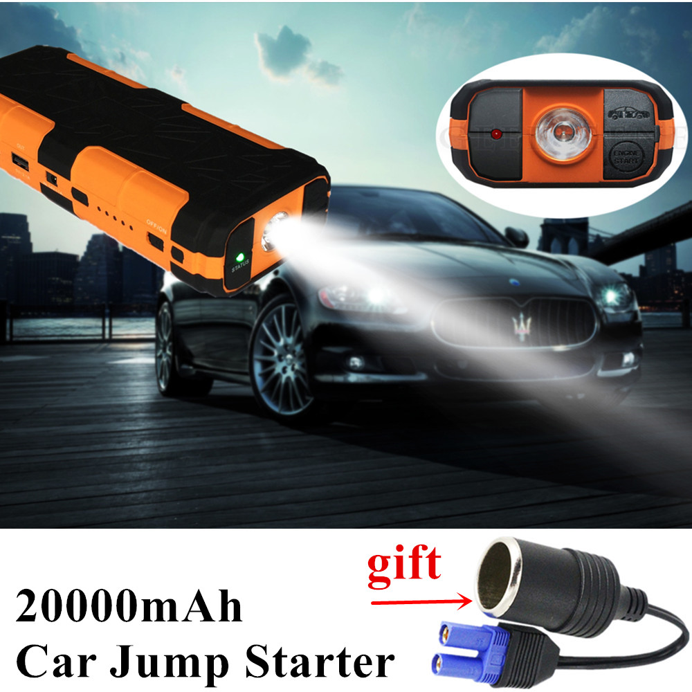 2017 Car Jump Starter Portable 20000mAh 2USB Power Bank Mobile Car Battery Booster Charger Starting Device For Diesel Petrol Car  2017 high capacity 15000mah car jump starter portable 12v car battery booster charger mobile 2usb power bank sos light free ship