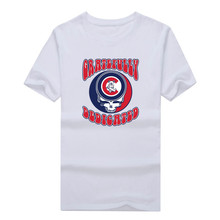 2017 Fashion CHICAGO CUBS GRATEFULLY DEDICATED DEAD skull T-shirt Tee 100% Cotton T shirt 1119-10