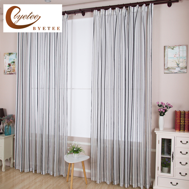 byetee] Chenille Window Striped Modern Curtain Fabric Bedroom ...