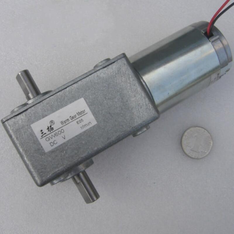 GW600 DC 12 V Micro brosse moteur à courant continu 15 W 90 degrés petite taille double arbre simple arbre à vis sans fin DC motoréducteur réglage de la vitesse